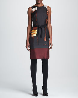Paule Ka Abstract-Printed Silk Sheath
