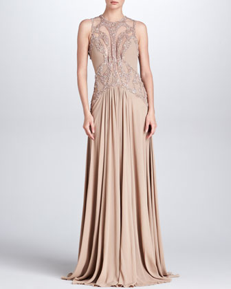 Beaded Cutout Gown, Bisque