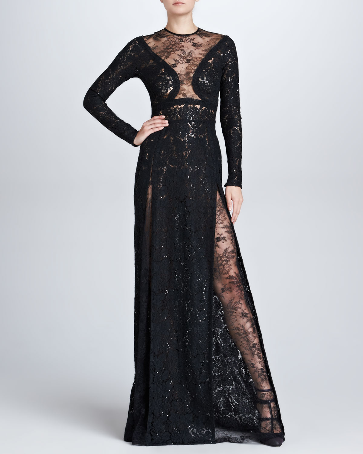 Womens Long Sleeve Lace Gown, Black   Elie Saab