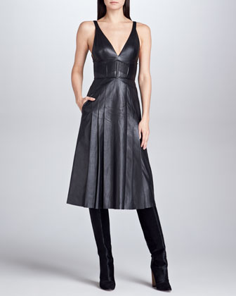 Plunging V-Neck Leather Dress, Black