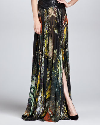 Abstract-Print Pleated Silk Maxi Skirt