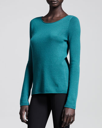 Cashmere Long-Sleeve Scoop-Neck Top