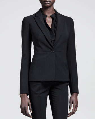 Seamed Single-Button Gabardine Jacket
