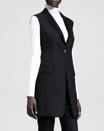 Seamed Long Sleeveless Jacket