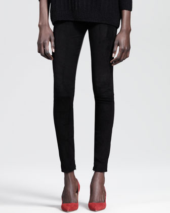 Textured Cashmere-Silk Crewneck Sweater and Ankle-Zip Combo Skinny Pants