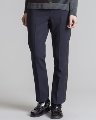 Straight-Leg Tuxedo Pants, Blue/Black