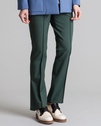 Twisted Wool Trouser Pants, Juniper