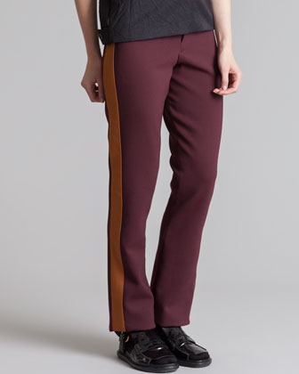 Straight-Leg Tuxedo Pants, Bordeaux/Gold