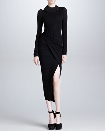 Spiral Draped Body-Conscious Dress, Black