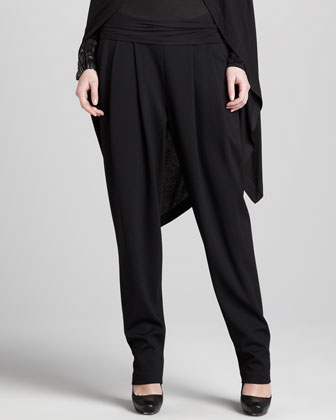 Pull-On Pleated Trousers, Black