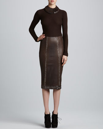 Embellished Leather Pencil Skirt, Peat