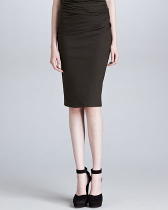 Pull-On Side-Draped Skirt, Burnt Umber