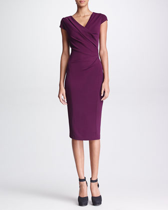 Gathered Cap-Sleeve Dress, Amethyst
