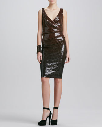 Draped Sequin Cocktail Dress, Chestnut