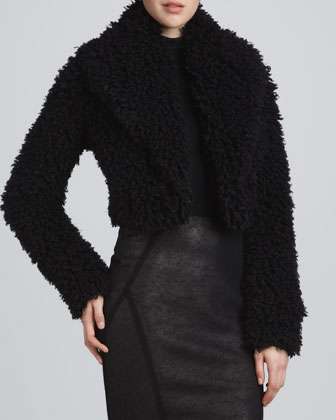 Shredded Faux-Fur Bolero Jacket, Black