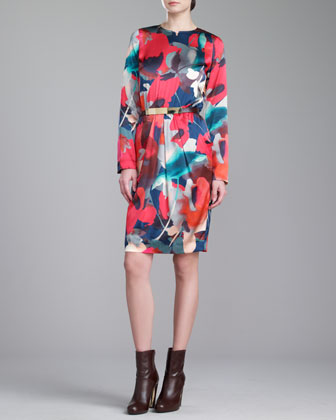 Bloom-Print Jewel-Neck Dress, Grenadine