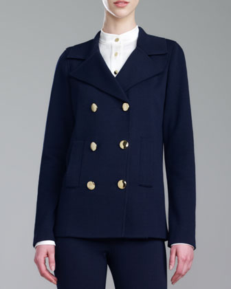 Double-Breasted Milano Knit Pea Coat, Navy