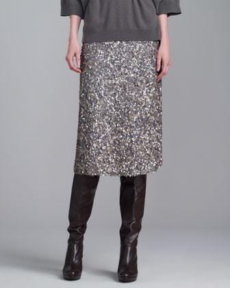 Hand-Sequined Skirt, Gray