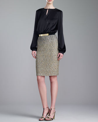 Couture Liquid Satin & Tweed Dress, Caviar/Multi