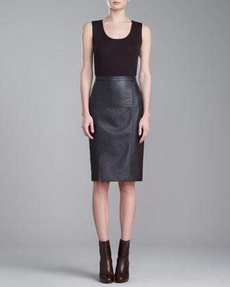 Soft Napa Leather Pencil Skirt, Mahogany