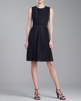 Pleated Matte Jersey Dress, Caviar