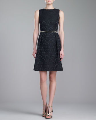 Jewel-Neck Brocade Dress, Caviar
