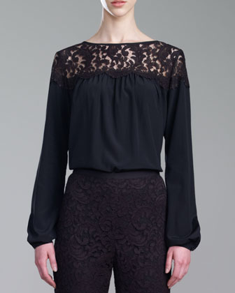 Crepe de Chine Lace-Neck Blouse