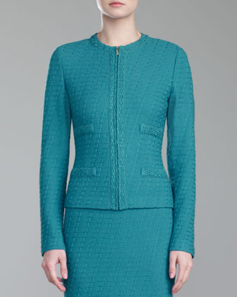 Box Knit Zip-Front Jacket, Teal