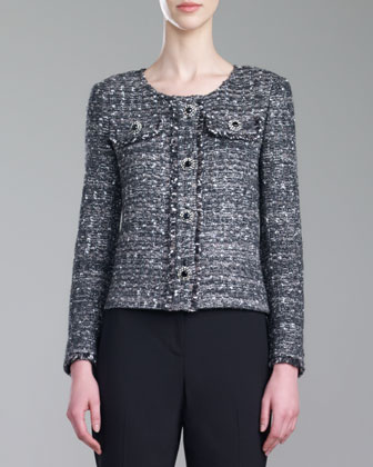 Tweed Knit Jacket, Caviar/Multi