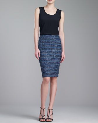 Couture Organza-Ribbon Pencil Skirt, Blue/Caviar/Multi