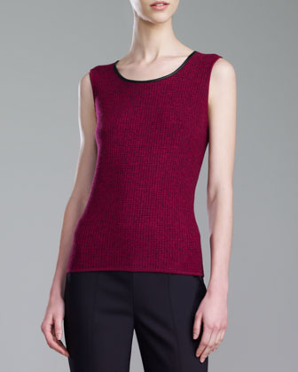 Micro Damier Scoop-Neck Shell, Dark Magenta