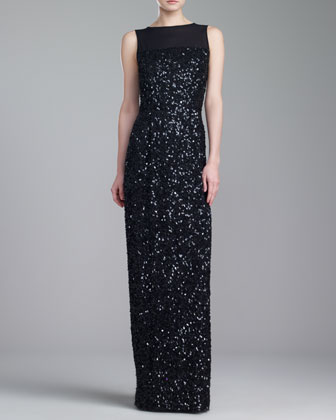 Hand Beaded Bateau-Neck Gown, Caviar