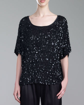 Hand-Beaded Scoop-Neck Top, Caviar
