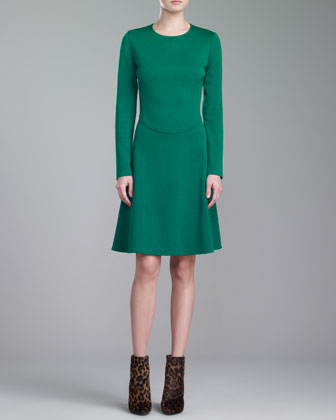 Milano Knit Jewel-Neck Dress, Kelly Green