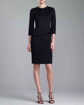Jewel-Neck Peplum Dress, Caviar