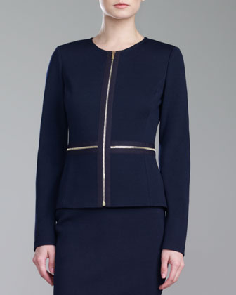 Milano Knit Zip Jacket, Navy