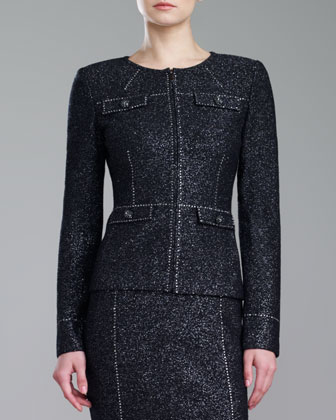 Couture Shimmer Tweed Jacket, Caviar