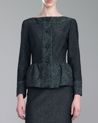 Brocade-Trim Shimmer Tweed Jacket, Green