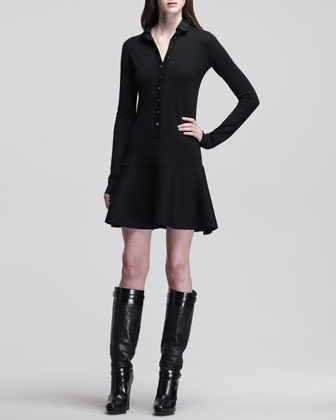 Wardour Drop-Waist Dress with Removable Leather Collar