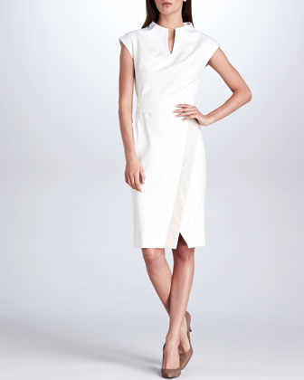 Leather-Trim Linear Wool Wrap Dress, Cream