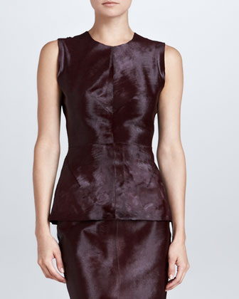 Sleeveless Calf Hair Top, Burgundy
