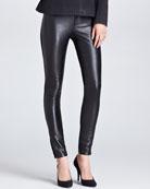 Leather-Front Pants, Black