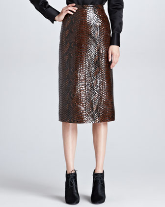 Python-Print Leather Pencil Skirt
