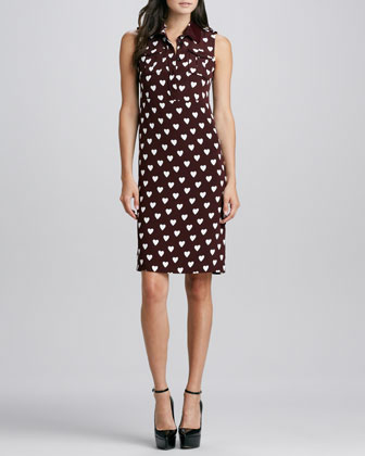 Crepe Heart Shirtdress, Deep Claret