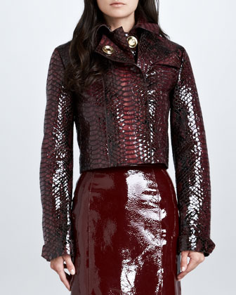 Cropped Python-Print Leather Jacket