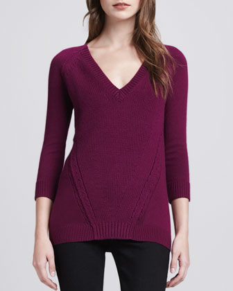 Cotton-Cashmere V-Neck Sweater, Damson Magenta