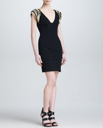 Beaded-Shoulder V-Neck Sheath Dress
