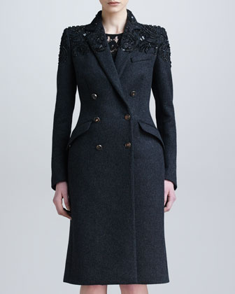 Embroidered Slim Wool-Cashmere Coat