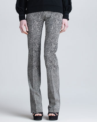 Boot-Cut Pants with Mixed Textures