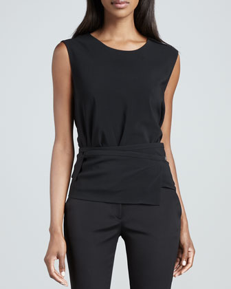 Belt-Strap Sleeveless Top, Black